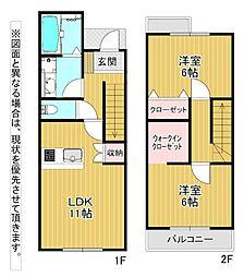 JR鹿児島本線 西小倉駅 徒歩16分の賃貸アパート 2階2LDKの間取り