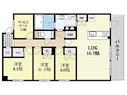 阪急千里線 南千里駅 徒歩17分の賃貸マンション 3階3SLDKの間取り