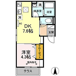 京急本線 日ノ出町駅 徒歩12分の賃貸アパート 1階1DKの間取り
