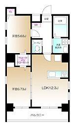 仮)南麻布2丁目プロジェクト 6階1LDKの間取り