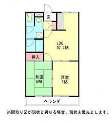 愛知県一宮市大和町馬引字郷戌亥の賃貸アパートの間取り