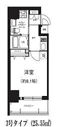 Osaka Metro谷町線 南森町駅 徒歩5分の賃貸マンション 9階1Kの間取り