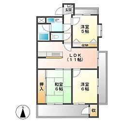 JINハイツ富田浜[5A号室]の間取り