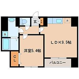仙台市営南北線 勾当台公園駅 徒歩5分の賃貸マンション 3階1LDKの間取り