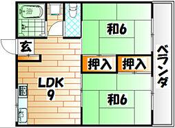 福岡県北九州市戸畑区南鳥旗町の賃貸マンションの間取り