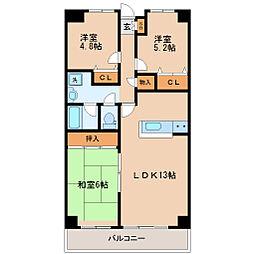 仙台市営南北線 北仙台駅 徒歩5分の賃貸マンション 13階3LDKの間取り