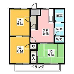 青山ヒルズ A棟[2階]の間取り