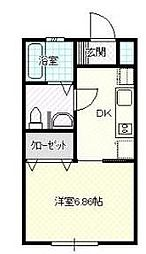 福岡県大川市大字一木の賃貸アパートの間取り