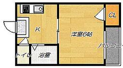 大阪府寝屋川市緑町の賃貸マンションの間取り