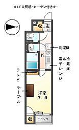愛知県あま市坂牧大塚の賃貸アパートの間取り