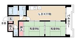 愛知県名古屋市南区元柴田東町1の賃貸マンションの間取り