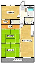 メゾンドール永岡[3階]の間取り