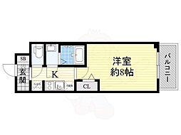 プレサンス心斎橋ソレイユ 7階1Kの間取り