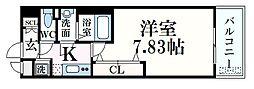 阪神本線 青木駅 徒歩1分の賃貸マンション 8階1Kの間取り