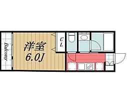 JR成田線 成田駅 徒歩17分の賃貸アパート 3階1Kの間取り