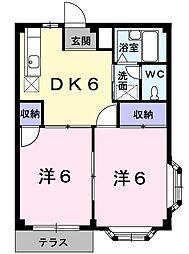 埼玉県鴻巣市箕田の賃貸アパートの間取り