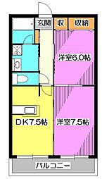 東京都東久留米市幸町5丁目の賃貸マンションの間取り
