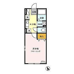 ボーデングハウス手形 B[1階]の間取り