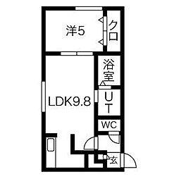 札幌市営南北線 麻生駅 徒歩10分の賃貸マンション 1階1LDKの間取り