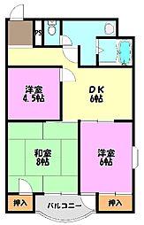 ゴットフィールド2[6階]の間取り