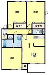 愛知県豊田市小坂町15丁目の賃貸アパートの間取り