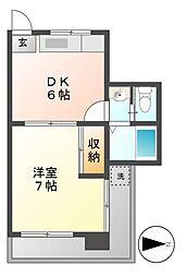 愛知県名古屋市瑞穂区佃町1丁目の賃貸アパートの間取り