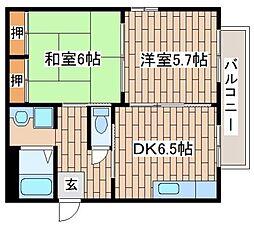JR東海道・山陽本線 六甲道駅 徒歩12分の賃貸アパート 2階2DKの間取り