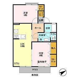 サンセジュールA[1階]の間取り