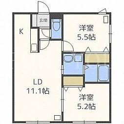 北海道札幌市豊平区美園六条5丁目の賃貸マンションの間取り