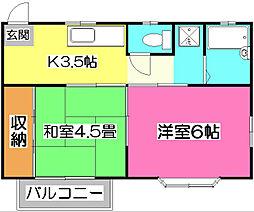 埼玉県所沢市緑町3丁目の賃貸アパートの間取り