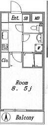 JR山手線 代々木駅 徒歩9分の賃貸マンション 3階1Kの間取り