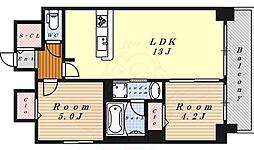 プレサンス丸の内フォート 15階2LDKの間取り