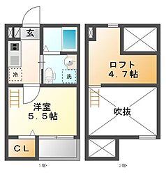 愛知県名古屋市南区堤町1の賃貸アパートの間取り