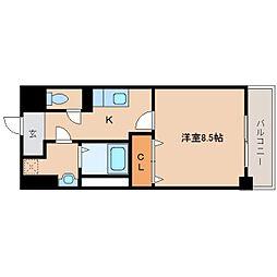 近鉄大阪線 大和八木駅 徒歩6分の賃貸マンション 5階1Kの間取り