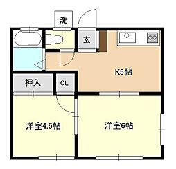 琉久屋荘[1階]の間取り