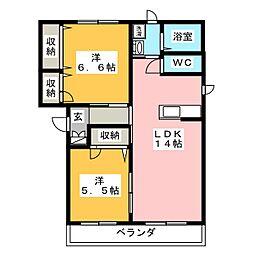 岡山県岡山市東区瀬戸町下の賃貸マンションの間取り