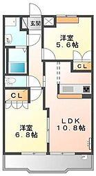 神奈川県横浜市都筑区川向町の賃貸アパートの間取り