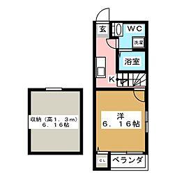 ドヌールV草薙[1階]の間取り