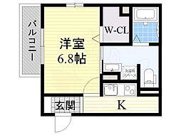 阪急京都本線 総持寺駅 徒歩1分の賃貸マンション 1階1Kの間取り