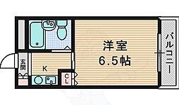 インペリアル江口C棟 3階1Kの間取り