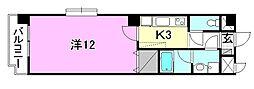 United SQUARE 7階1Kの間取り