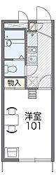 南海高野線 北野田駅 徒歩20分の賃貸アパート 1階1Kの間取り