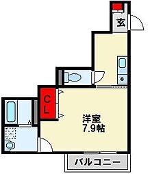 ユアメゾン井堀 2階1Kの間取り