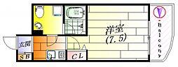 アスール江坂3rd 3階1Kの間取り