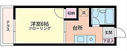 神奈川県横浜市中区柏葉の賃貸アパートの間取り
