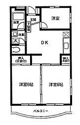 渋谷ヴィラ1[2階]の間取り