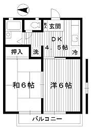 東京都練馬区平和台の賃貸アパートの間取り