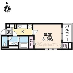 JR東海道・山陽本線 桂川駅 徒歩15分の賃貸マンション 4階1Kの間取り