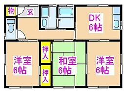 東園住宅 1階3DKの間取り
