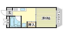 兵庫県姫路市広畑区西夢前台5丁目の賃貸マンションの間取り